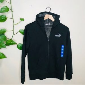 NEW Puma Black Full Zip Hooded Sweatshirt 14/16